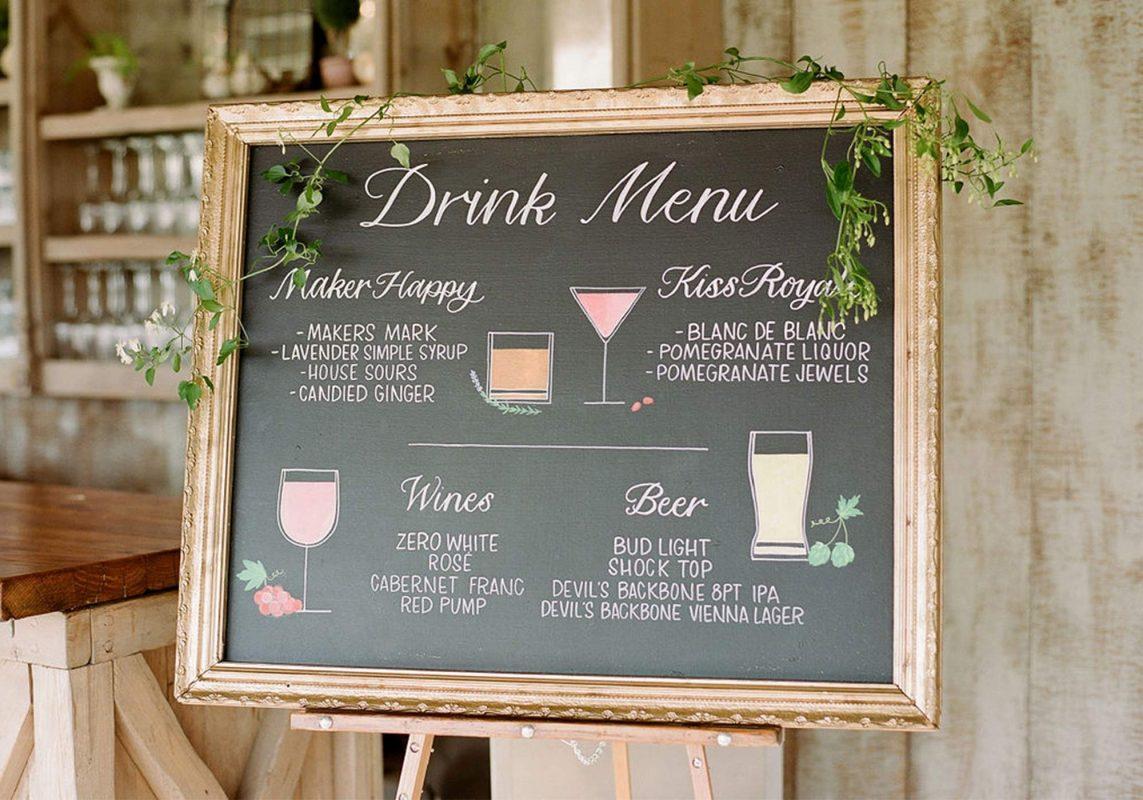 Wedding Drink Menu, His and Her Cocktails, Wedding Drink Menu, Wedding Signs, Pippin Hill Wedding, Virginia Wedding, Drink Menu